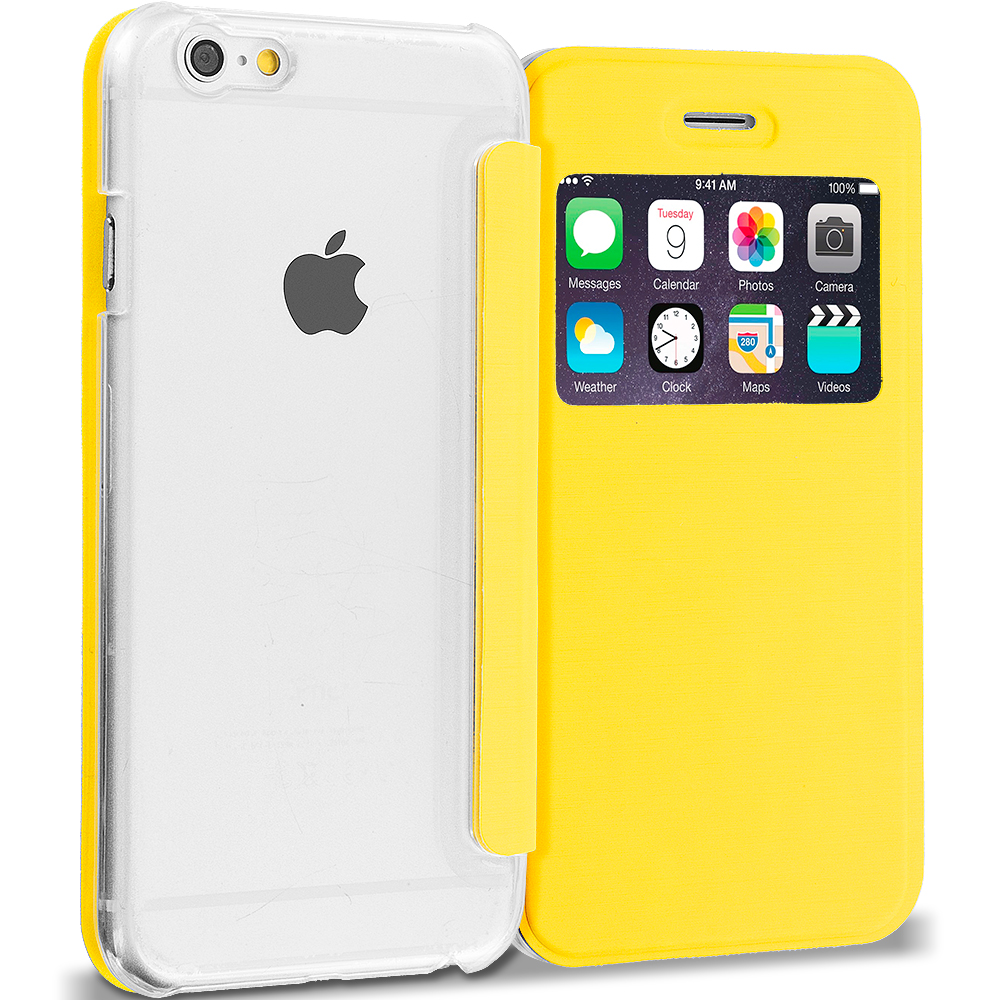 Apple iPhone 6 6S (4.7) Yellow Slim Hard Wallet Flip Case Cover Clear Back With Window