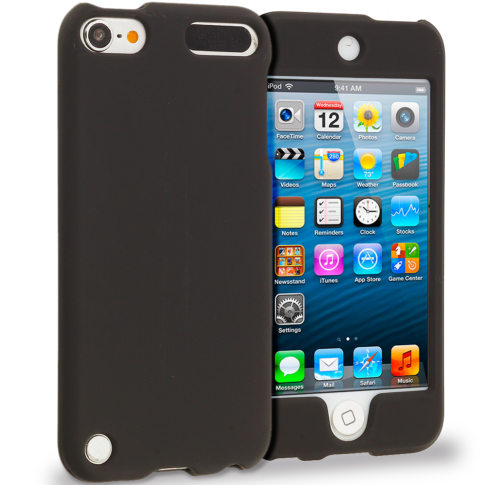 Apple iPod Touch 5th 6th Generation Black Covered Hard Rubberized Case Cover