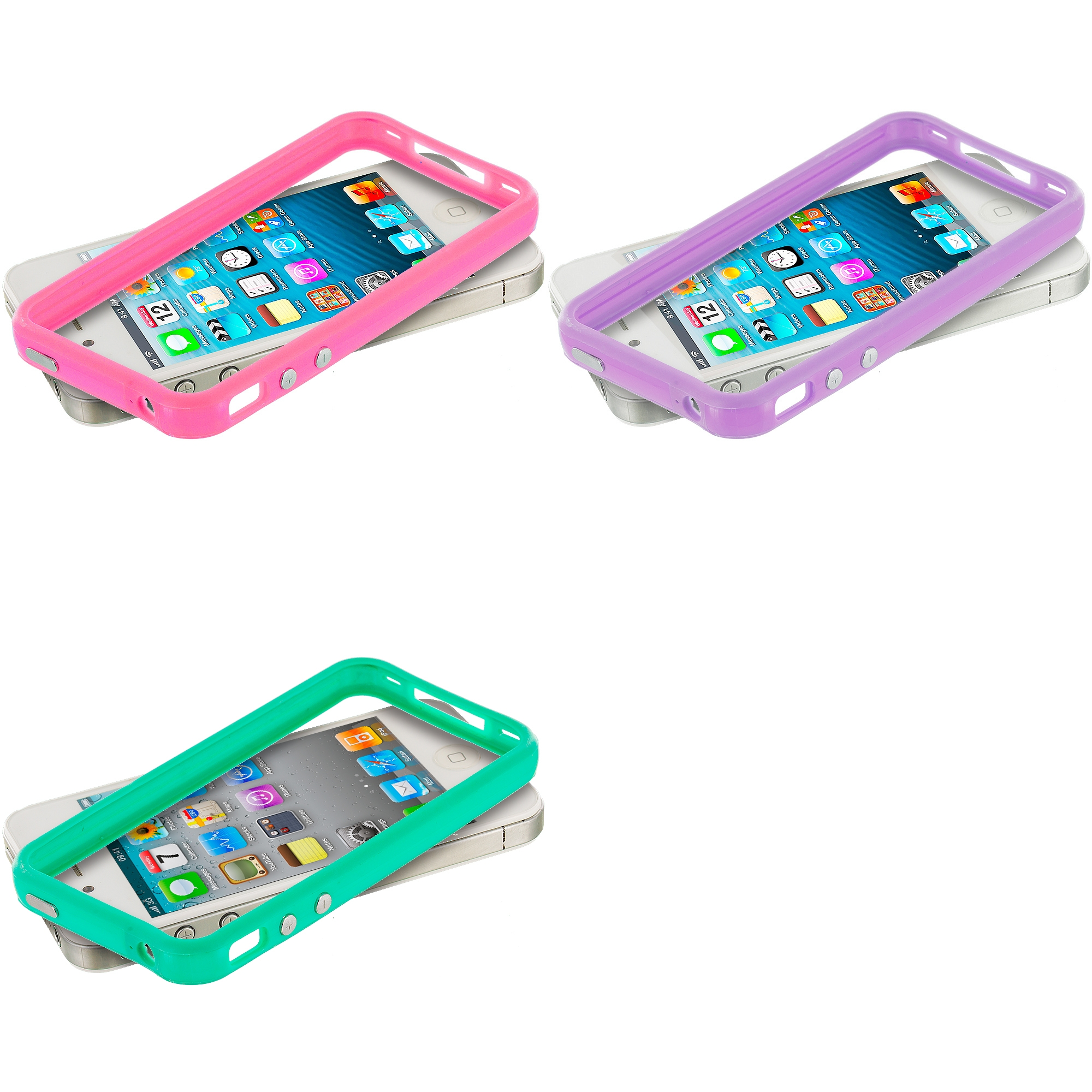 Apple iPhone 5/5S/SE Combo Pack : Light Pink TPU Bumper Frame Case Cover