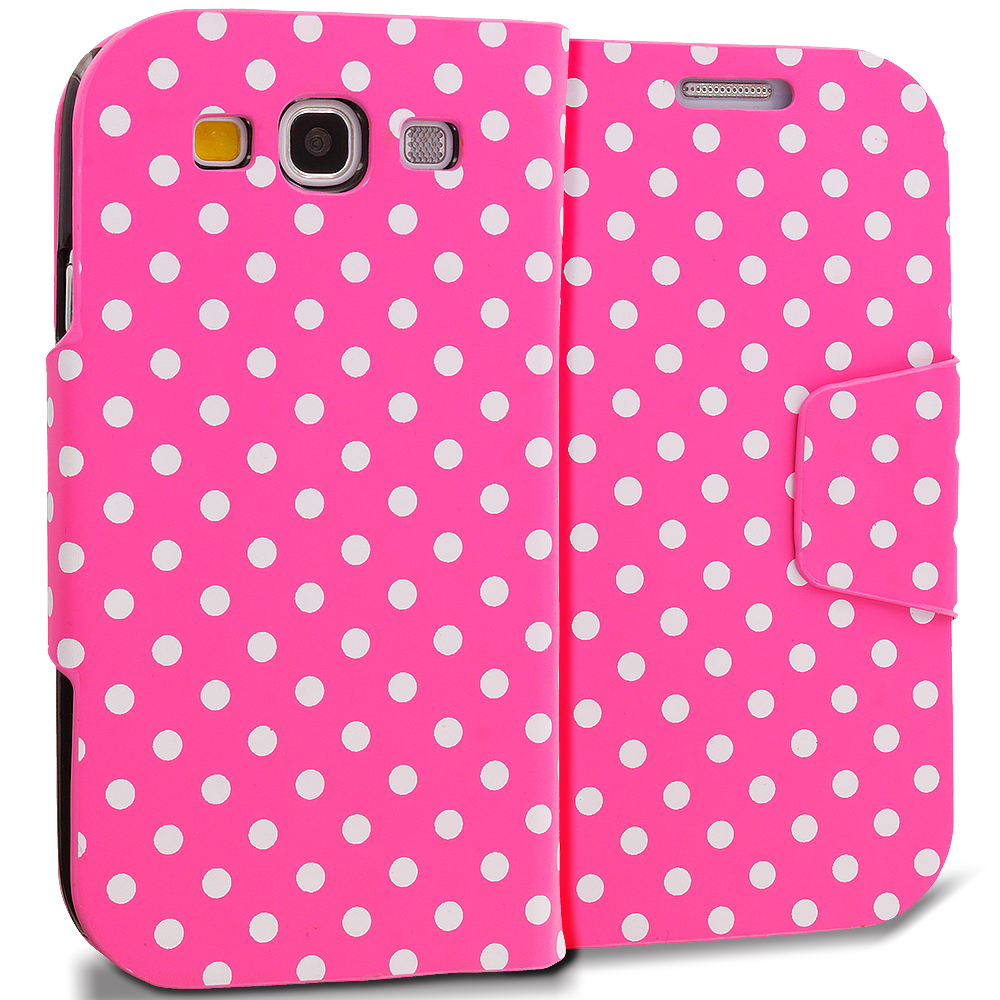 Samsung Galaxy S3 Pink White Dot Leather Wallet Pouch Case Cover with Slots