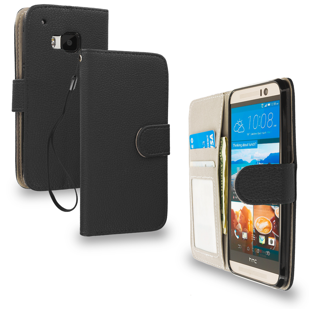 HTC One M9 Black Leather Wallet Pouch Case Cover with Slots
