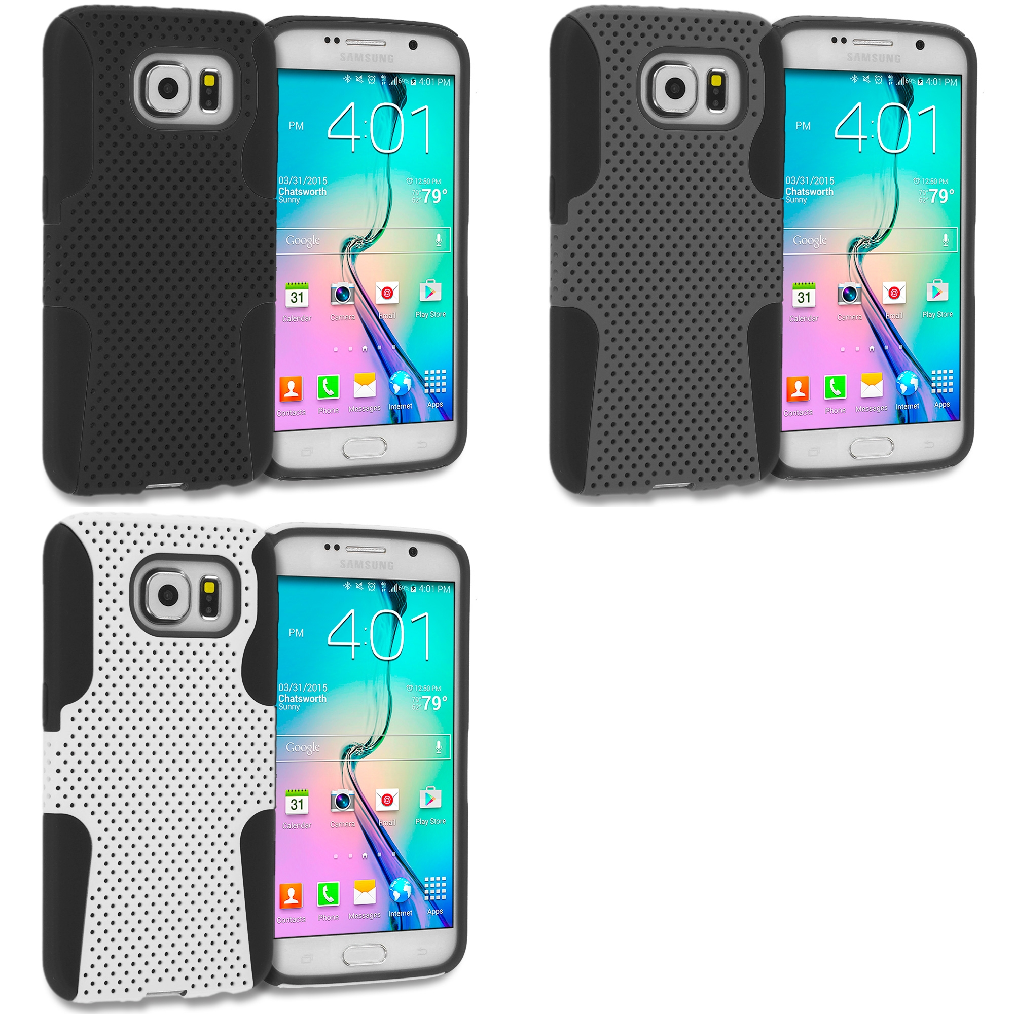 Samsung Galaxy S6 Combo Pack : Black / Black Hybrid Mesh Hard/Soft Case Cover