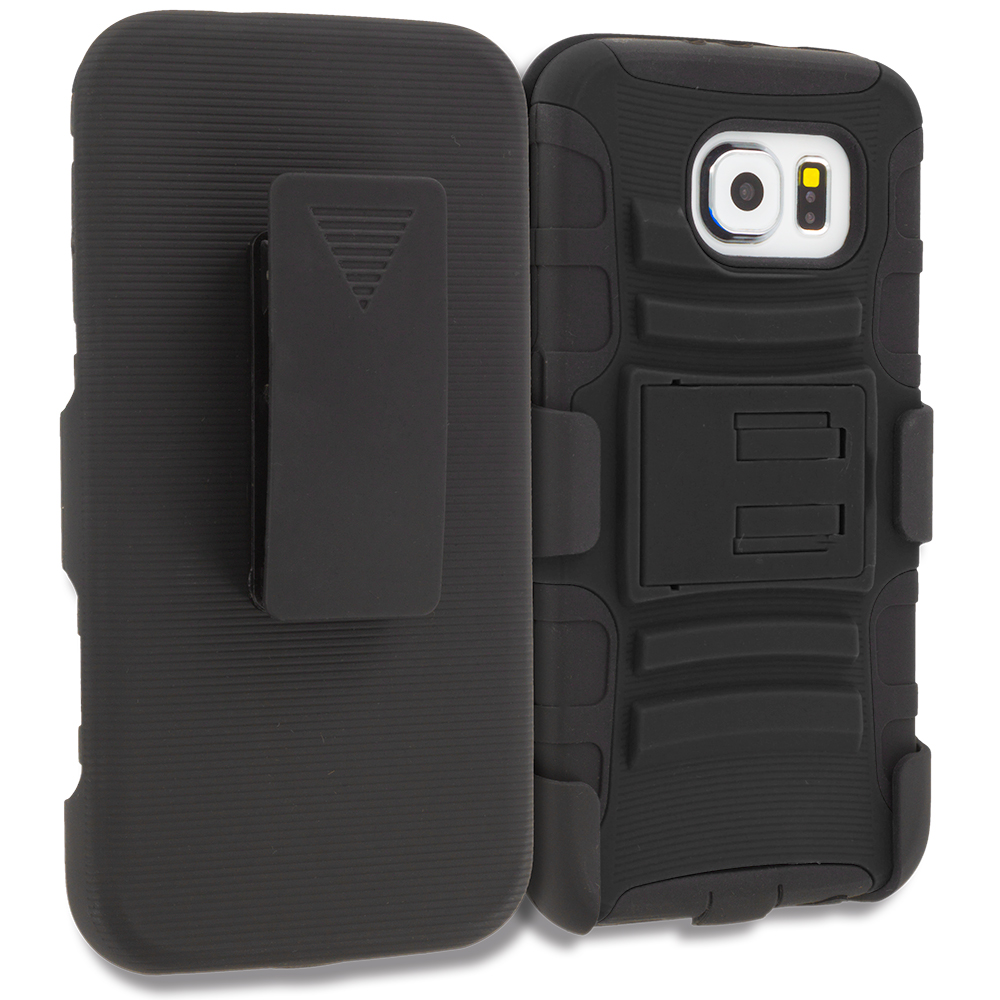 Samsung Galaxy S6 Combo Pack : Black Hybrid Heavy Duty Rugged Case Cover with Belt Clip Holster : Color Black