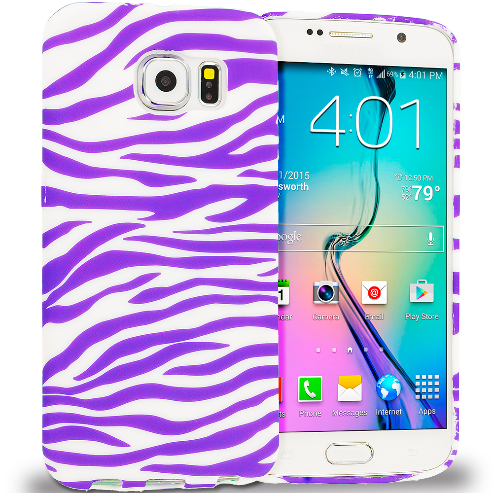 Samsung Galaxy S6 Purple / White Zebra TPU Design Soft Rubber Case Cover