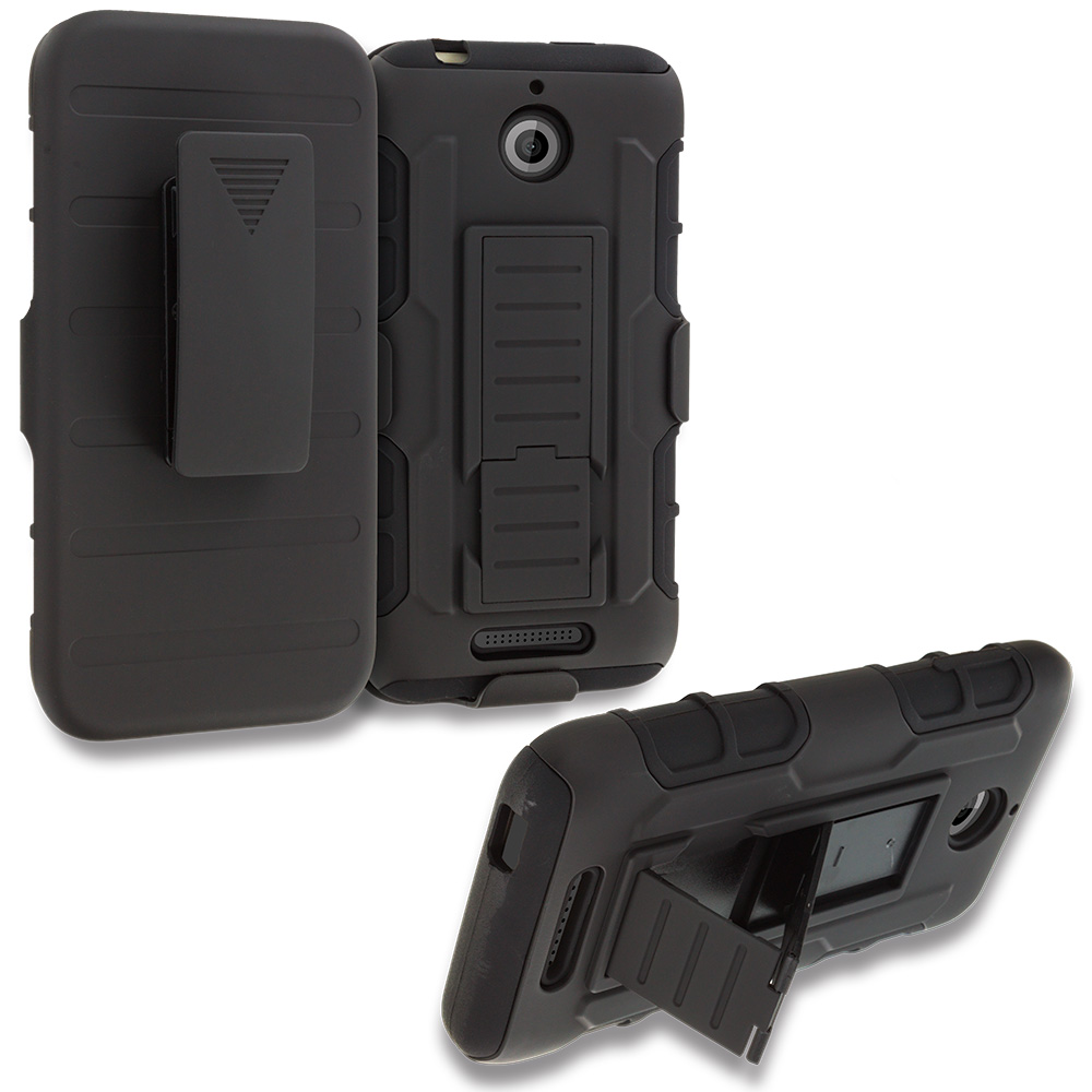 HTC Desire 510 512 Black Hybrid Rugged Robot Armor Heavy Duty Case Cover with Belt Clip Holster