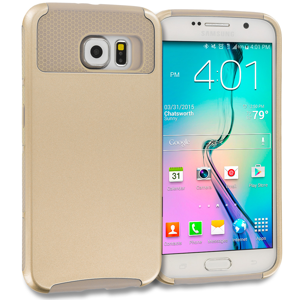 Samsung Galaxy S6 Edge 4 in 1 Combo Bundle Pack - Hybrid Hard TPU Honeycomb Rugged Case Cover : Color Gold / Gold
