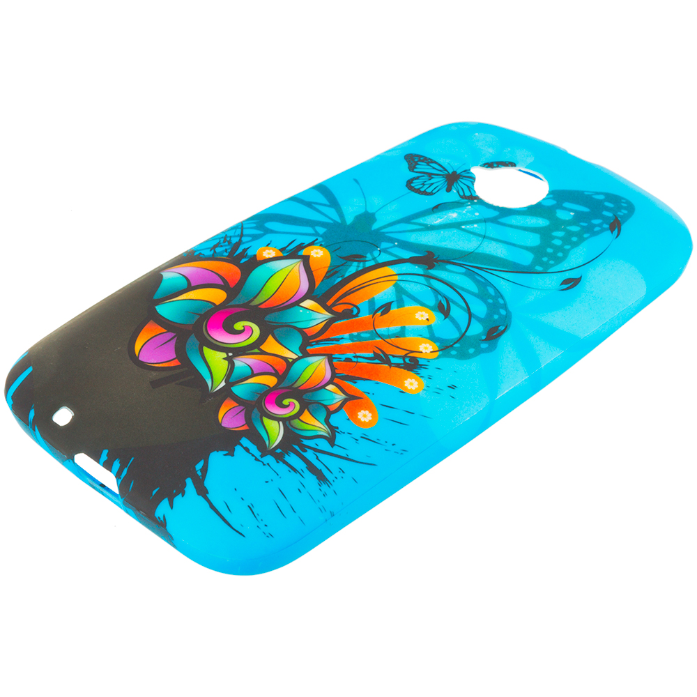 Motorola Moto E LTE 2nd Generation Blue Butterfly Flower TPU Design Soft Rubber Case Cover