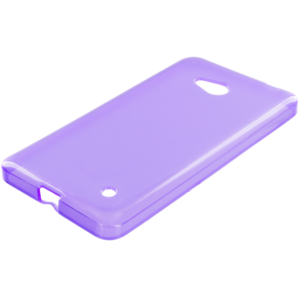 Microsoft Lumia 640 2 in 1 Combo Bundle Pack - Purple Pink TPU Rubber Skin Case Cover : Color Purple