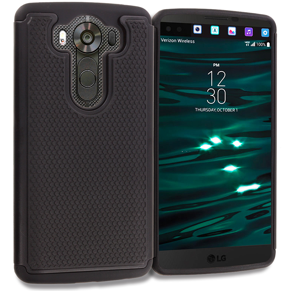 LG V10 Black Hybrid Rugged Grip Shockproof Case Cover
