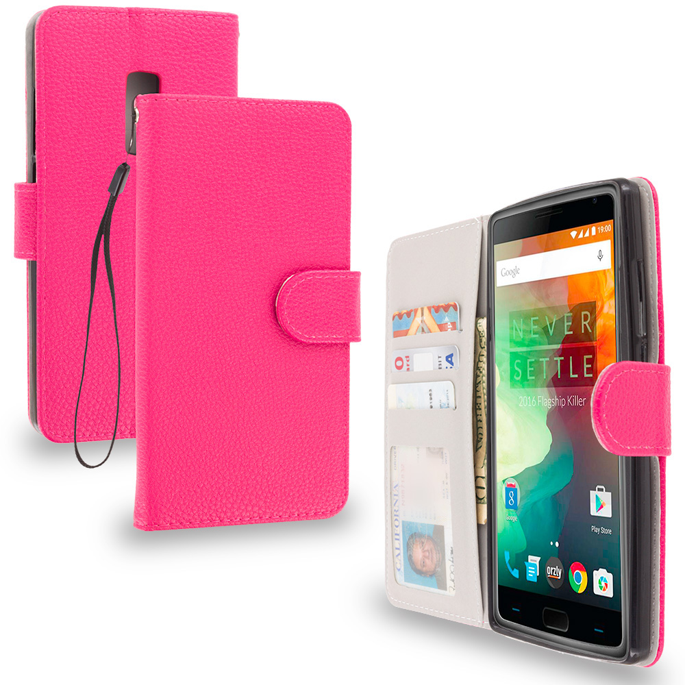 OnePlus 2 Two Hot Pink Leather Wallet Pouch Case Cover with Slots