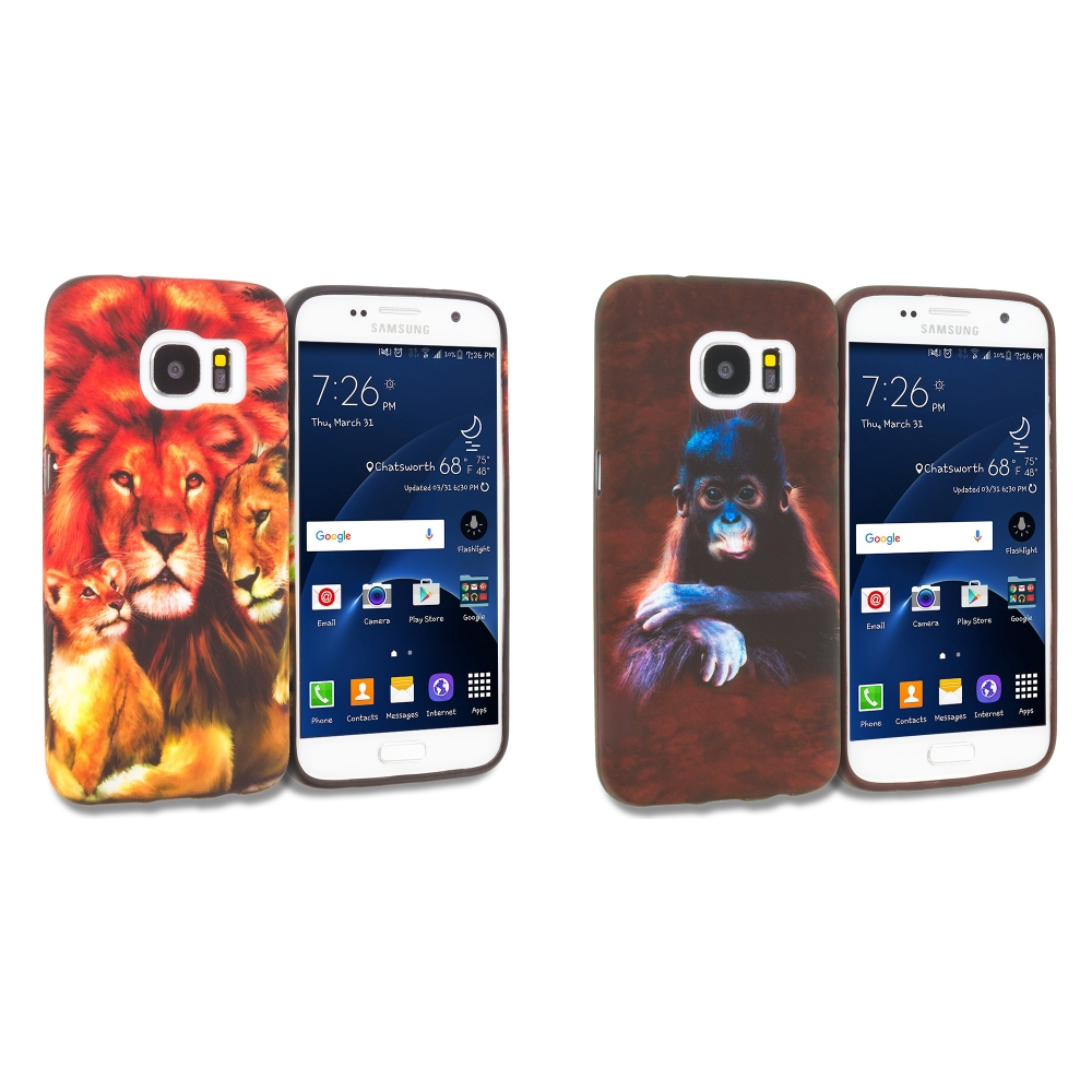 Samsung Galaxy S7 Combo Pack : Monkey TPU Design Soft Rubber Case Cover