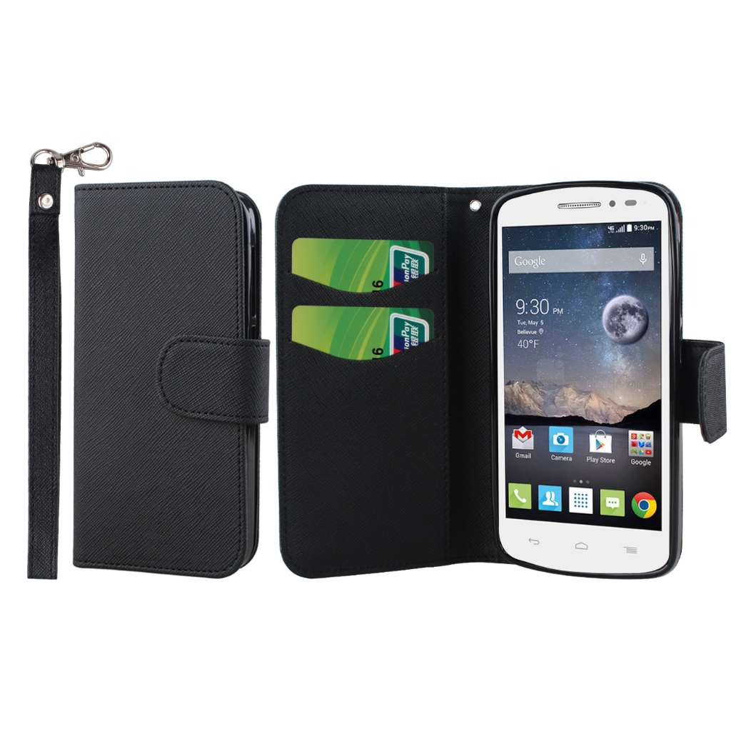 Alcatel OneTouch POP Astro - Black MPERO FLEX FLIP Wallet Case Cover