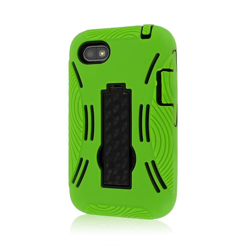 BlackBerry Q5 - Neon Green MPERO IMPACT XL - Kickstand Case Cover