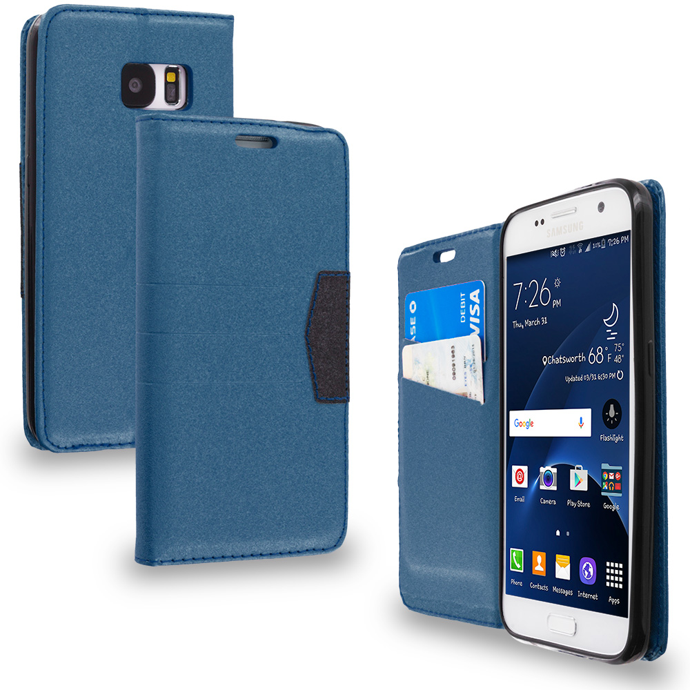 Samsung Galaxy S7 Combo Pack : Baby Blue Wallet Flip Leather Pouch Case Cover with ID Card Slots : Color Navy Blue