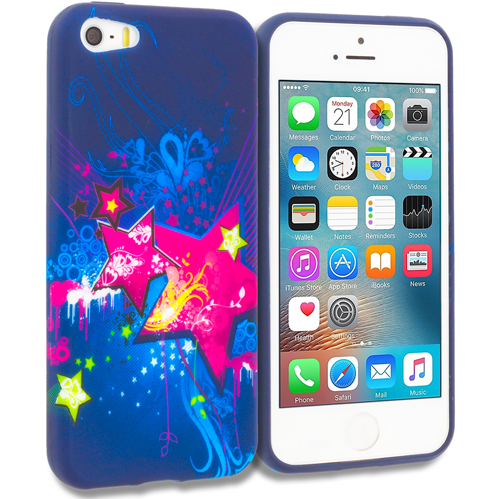 Apple iPhone 5/5S/SE Pink Blue Star TPU Design Soft Rubber Case Cover