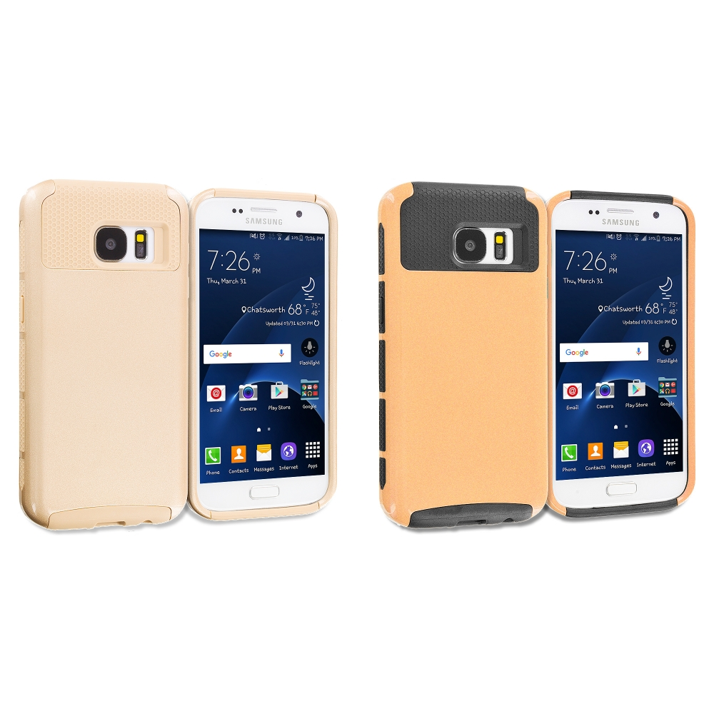 Samsung Galaxy S7 Combo Pack : Gold / Gold Hybrid Hard TPU Honeycomb Rugged Case Cover