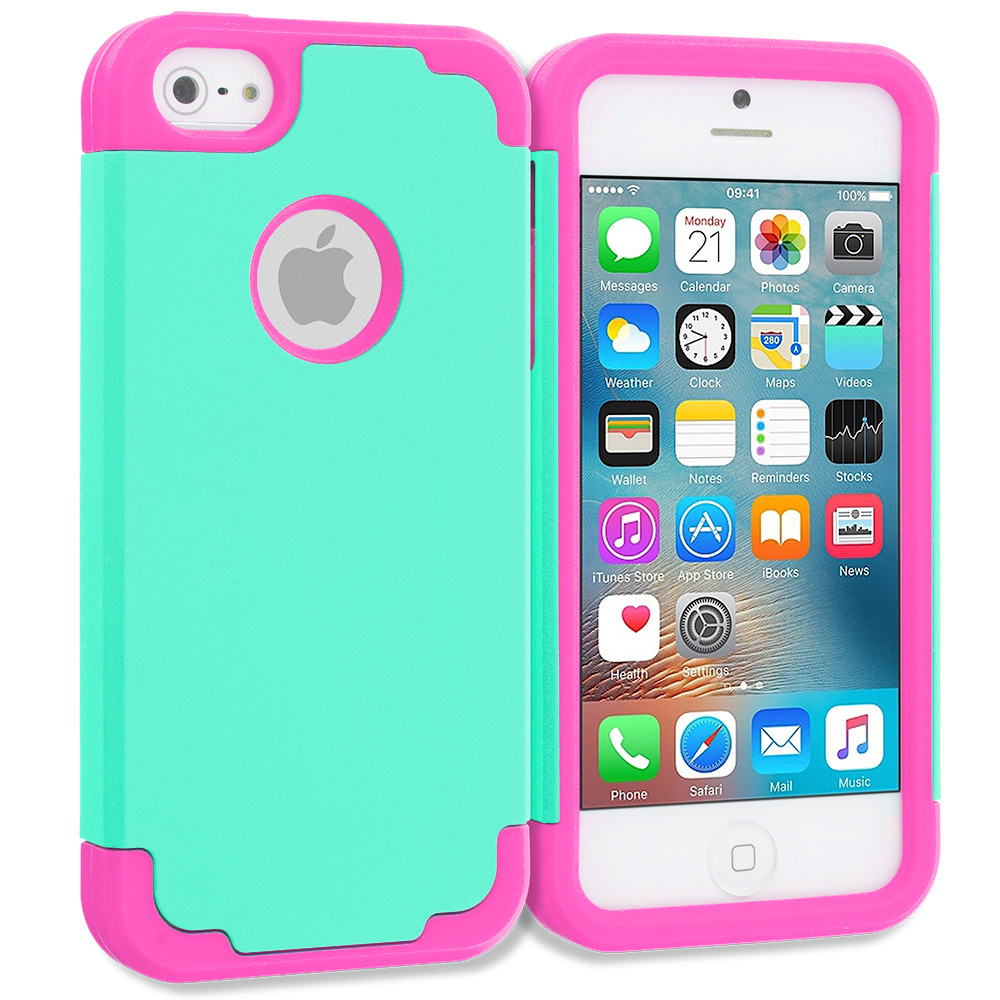 Apple iPhone 5 Combo Pack : Hot Pink / Baby Blue Hybrid Slim Hard Soft Rubber Impact Protector Case Cover : Color Teal / Hot Pink