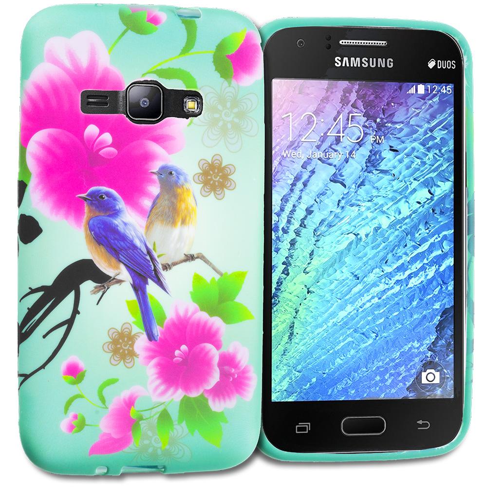 Samsung Galaxy J1 2016 Amp 2 Blue Bird Pink Flower TPU Design Soft Rubber Case Cover