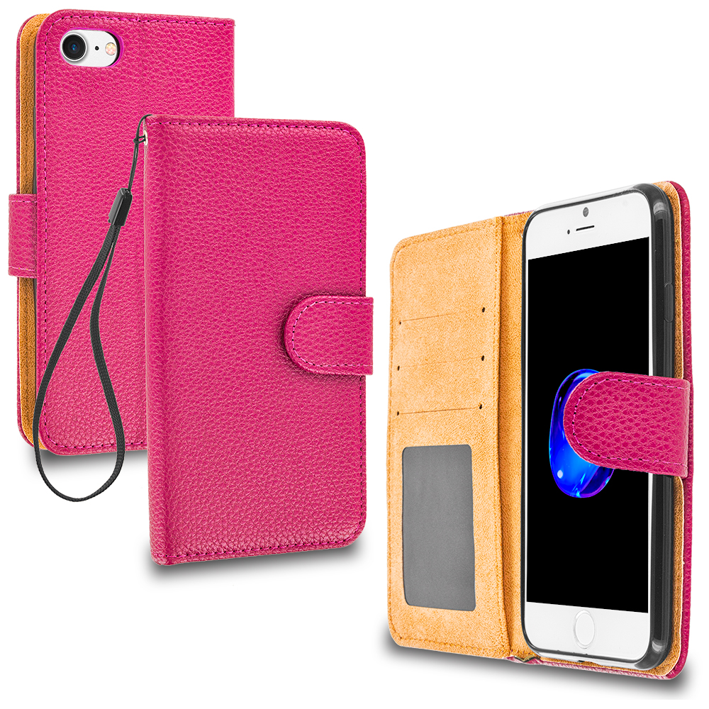 Apple iPhone 7 Hot Pink Leather Wallet Pouch Case Cover with Slots