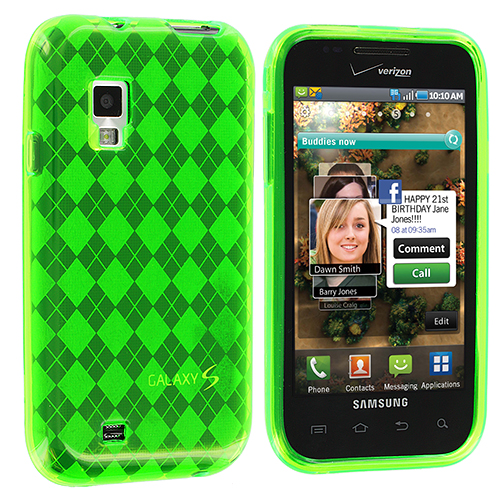 Samsung Fascinate i500 Neon Green Checkered TPU Rubber Skin Case Cover
