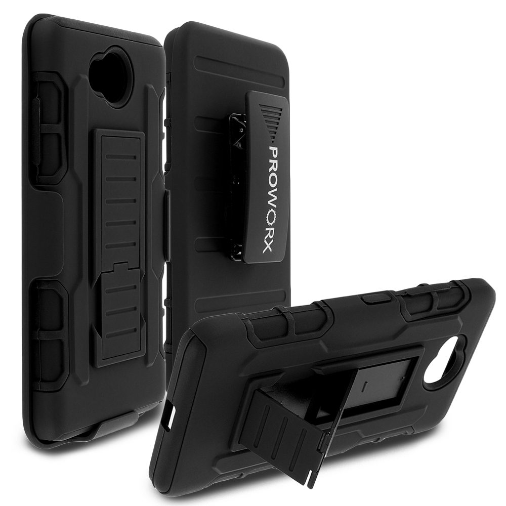 Microsoft Lumia 650 Black ProWorx Heavy Duty Shock Absorption Armor Defender Holster Case Cover With Belt Clip