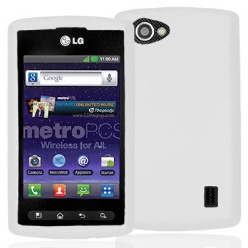 LG Optimus M+ MS695 White Hard Rubberized Case Cover