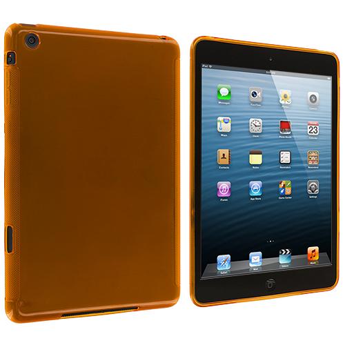 Apple iPad Mini Orange Plain TPU Rubber Skin Case Cover