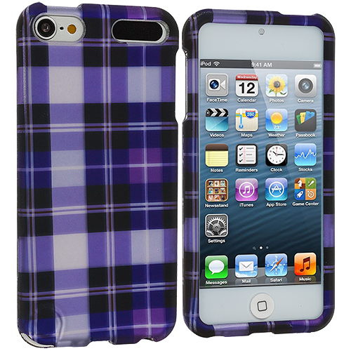 Apple iPod Touch 5th 6th Generation Purple Checker Hard Rubberized Design Case Cover