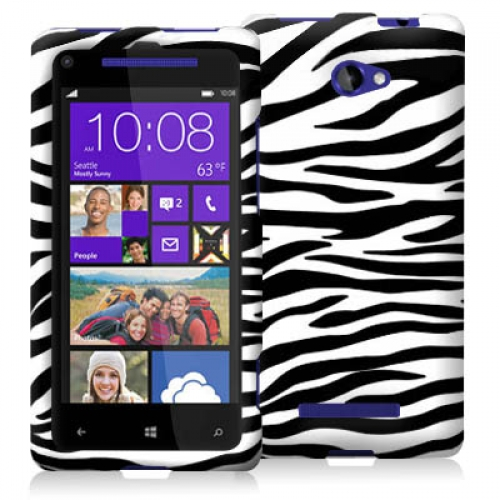 HTC Windows 8X Black / White Zebra Design Crystal Hard Case Cover