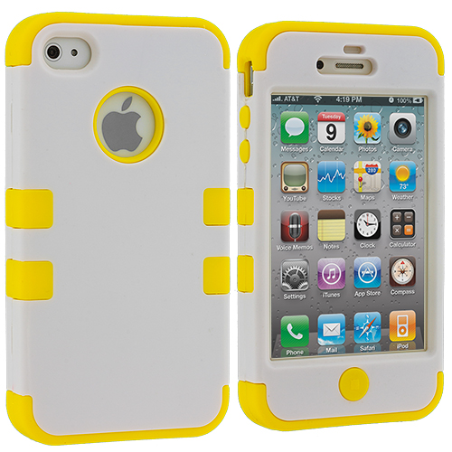 Apple iPhone 4 / 4S White / Yellow Hybrid Tuff Hard/Soft 3-Piece Case Cover
