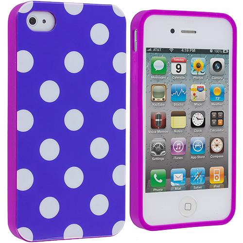 Apple iPhone 4 / 4S Purple Pink / White TPU Polka Dot Skin Case Cover