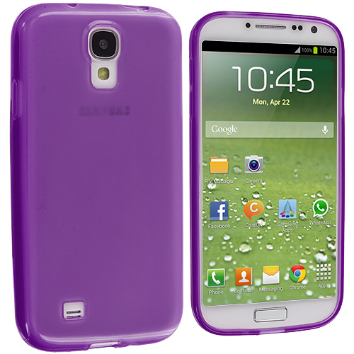 Samsung Galaxy S4 2 in 1 Combo Bundle Pack - Clear Purple Plain TPU Rubber Skin Case Cover : Color Purple Plain