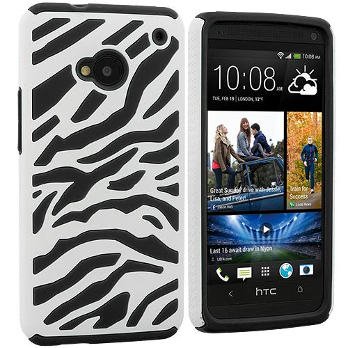 HTC One M7 Black / White Hybrid Zebra Hard/Soft Case Cover