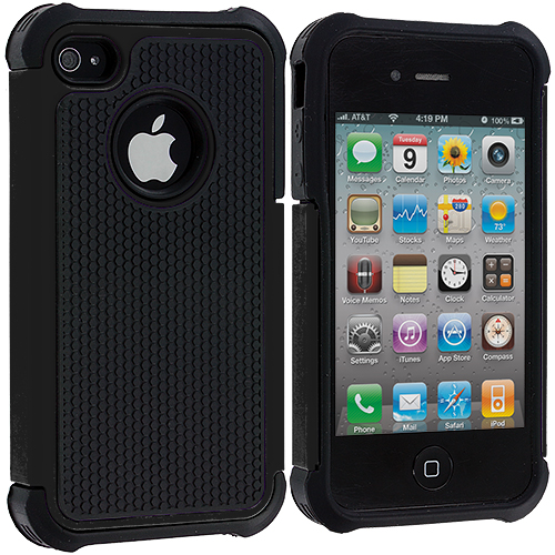 Apple iPhone 4 / 4S Black Hybrid Rugged Hard/Soft Case Cover