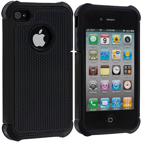 Apple iPhone 4 / 4S Black Hybrid Rugged Hard/Soft Case Cover