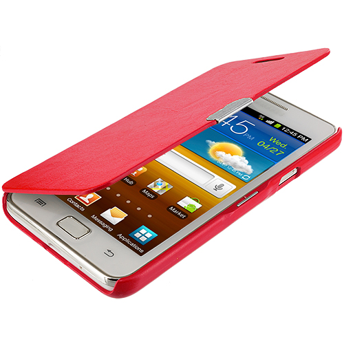 Samsung Galaxy S2 i9100 Red Texture Magnetic Wallet Case Cover Pouch