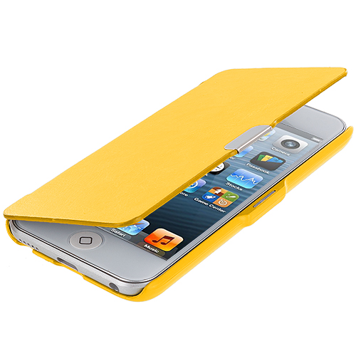 Apple iPod Touch 5th 6th Generation Yellow Texture Magnetic Wallet Case Cover Pouch
