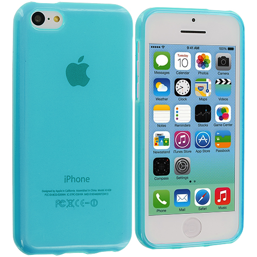Apple iPhone 5C 2 in 1 Combo Bundle Pack - Baby Blue TPU Rubber Skin Case Cover : Color Baby Blue
