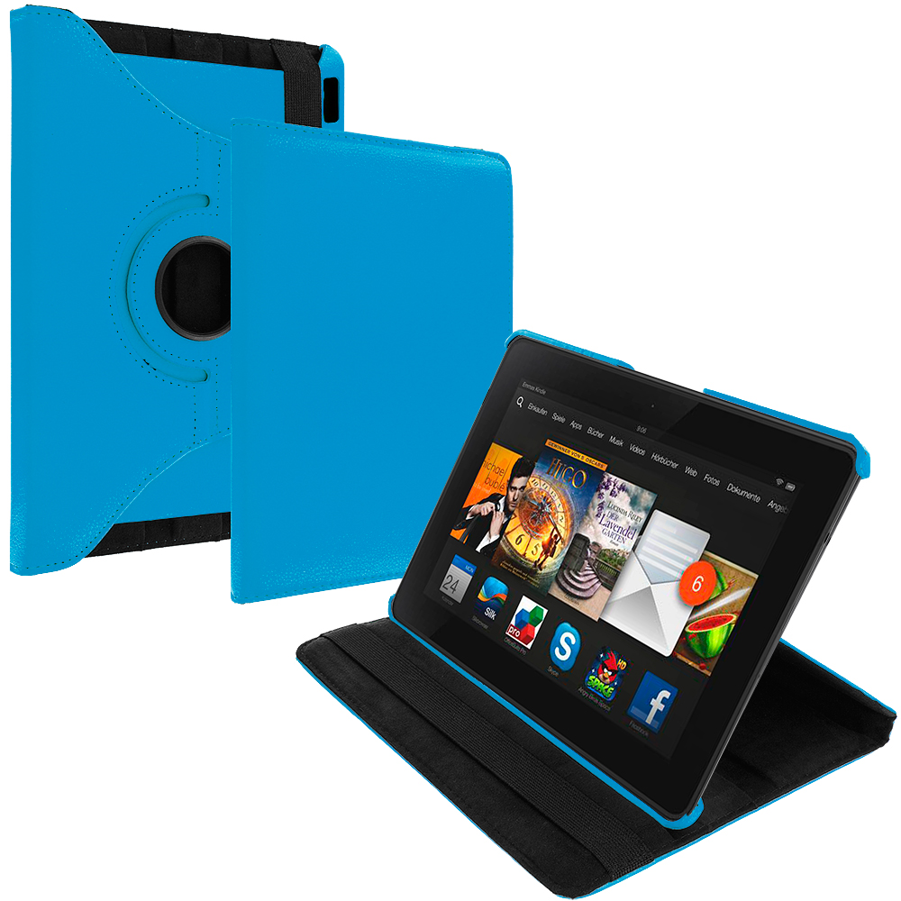 Amazon Kindle Fire HDX 7 Sky Blue 360 Rotating Leather Pouch Case Cover Stand