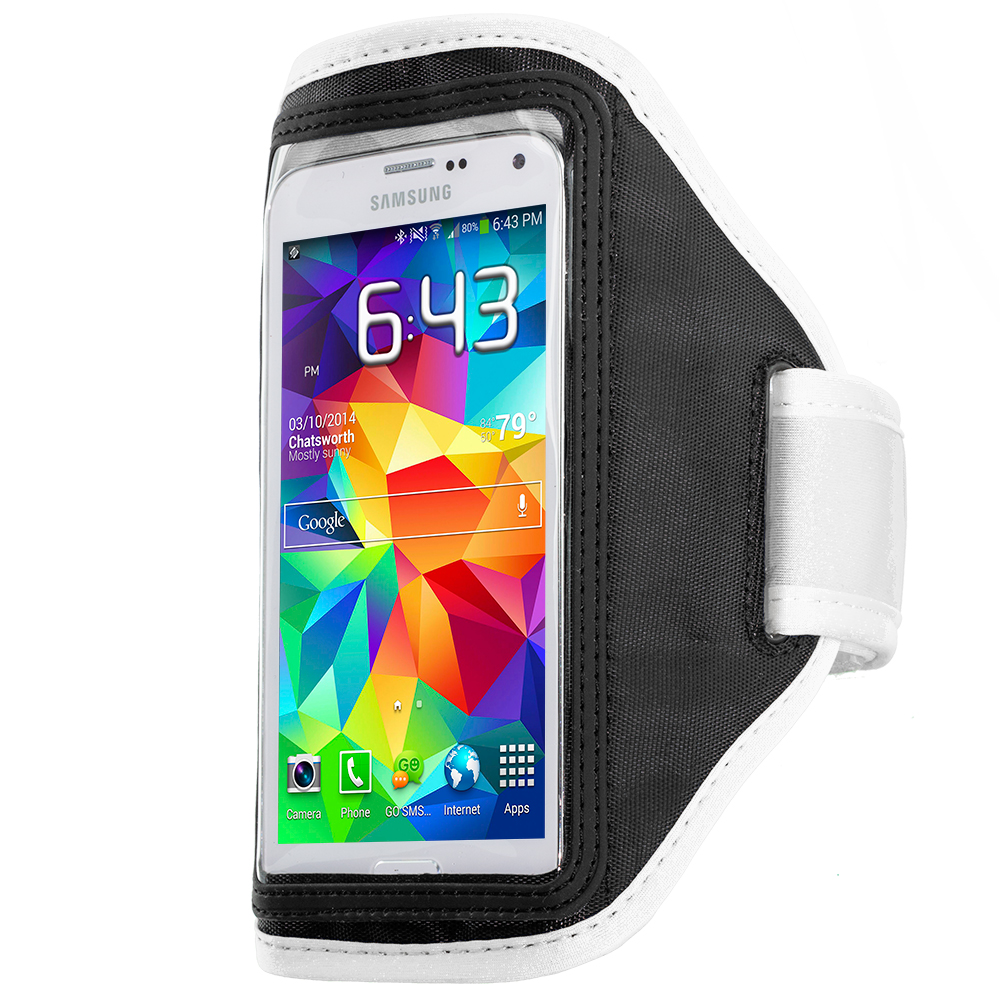 Samsung Galaxy S5 White Running Sports Gym Armband