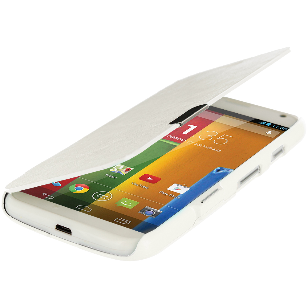 Motorola Moto G White Magnetic Wallet Case Cover Pouch