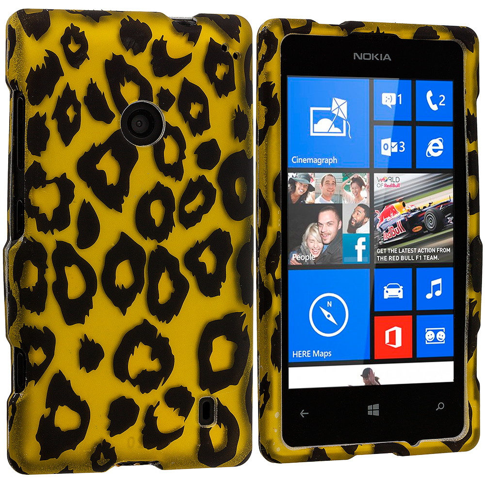 Nokia Lumia 520 Black Leopard on Golden 2D Hard Rubberized Design Case Cover