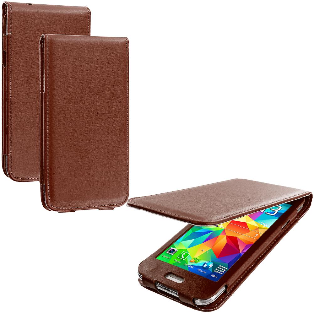 Samsung Galaxy S5 Brown (No CutOut) Wallet Flip Pouch Folio Case Cover