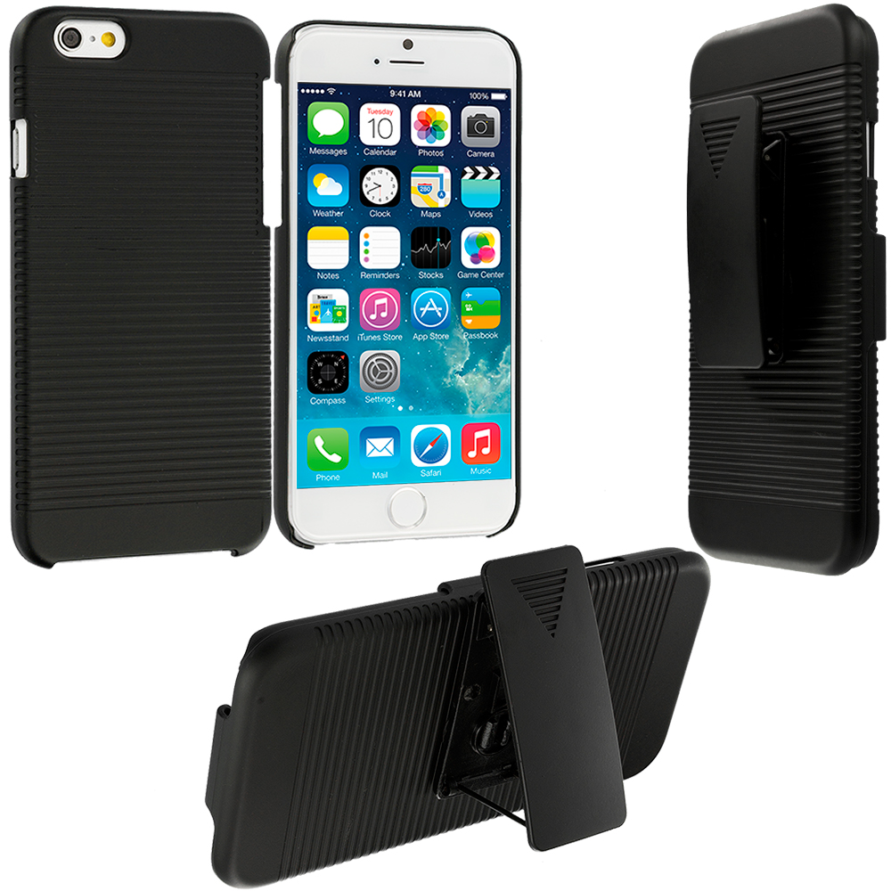 Apple iPhone 6 6S (4.7) Black Hard Rubberized Belt Clip Holster Case Cover