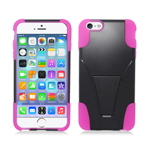 Apple iPhone 6 Plus Black / Hot Pink Hybrid Hard/Silicone Case Cover with Stand