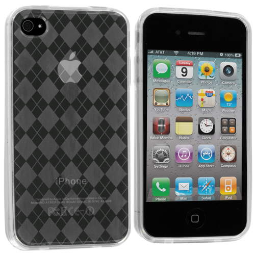 Apple iPhone 4 / 4S Clear Checkered TPU Rubber Skin Case Cover