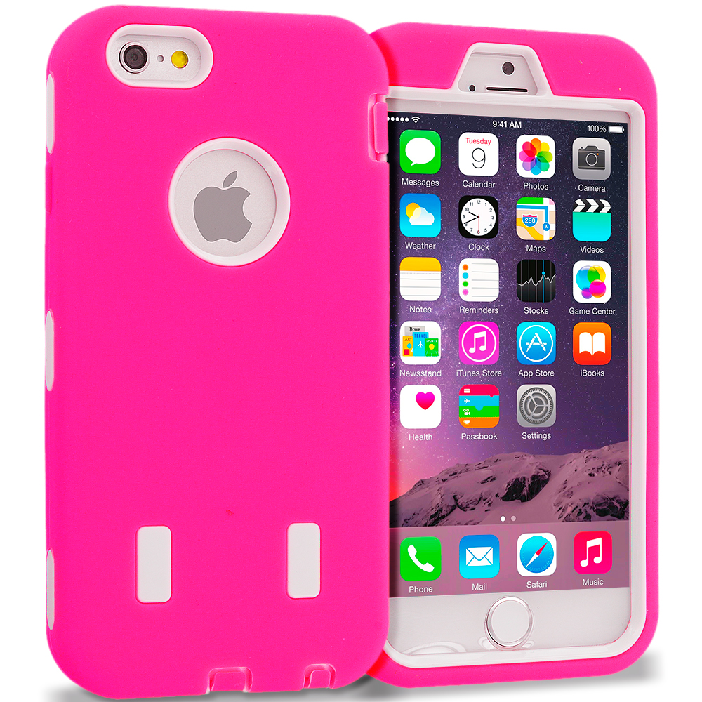 Apple iPhone 6 6S (4.7) Hot Pink / White Hybrid Deluxe Hard/Soft Case Cover