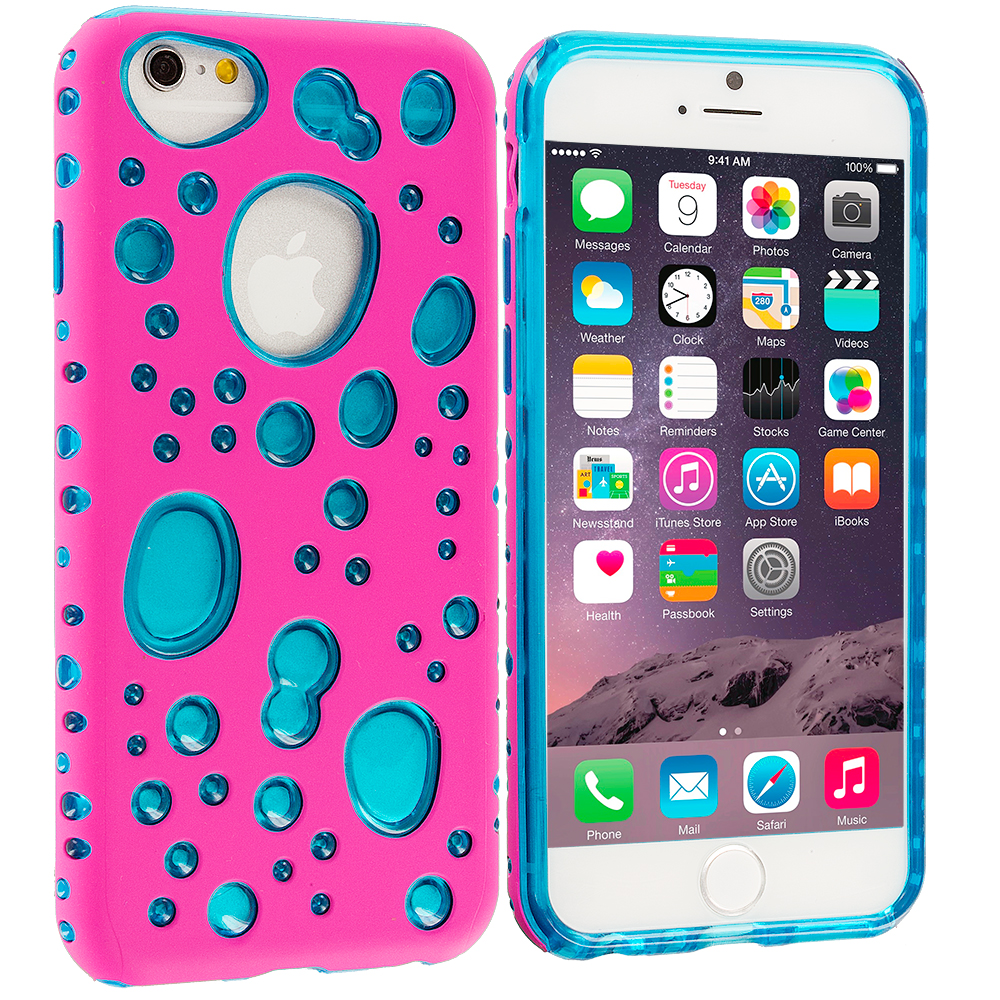 Apple iPhone 6 6S (4.7) Hot Pink / Baby Blue Hybrid Bubble Hard/Soft Skin Case Cover