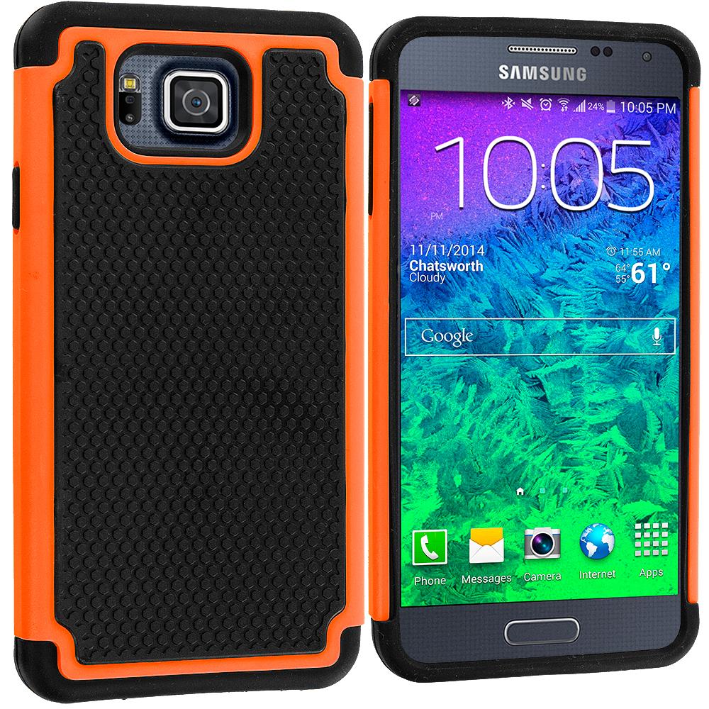 Samsung Galaxy Alpha G850 Black / Orange Hybrid Rugged Grip Shockproof Case Cover