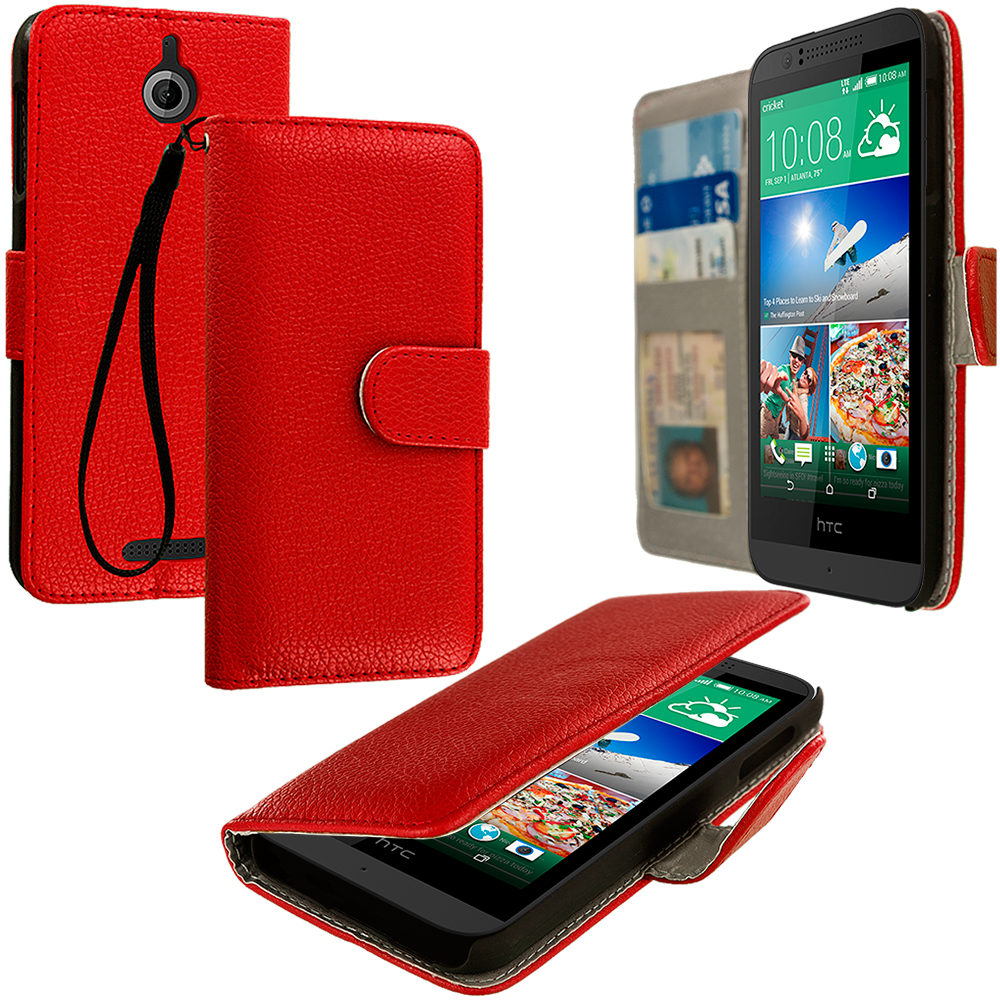 HTC Desire 510 512 Red Leather Wallet Pouch Case Cover with Slots